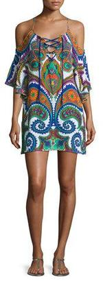 Trina Turk Pacific Paisley Cold-Shoulder Lace-Up Tunic, Multicolor $148 thestylecure.com