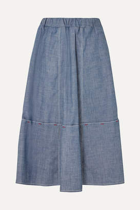 Marni Cotton-blend Chambray Skirt - Gray