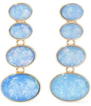 Com Kenneth Jay Lane Gold Tone Stone Clip Earrings