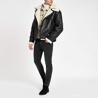River Island Black fleece lined biker jacket