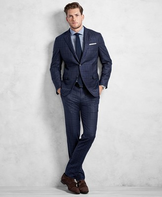 Brooks Brothers Golden Fleece Blue and Navy Plaid Suit