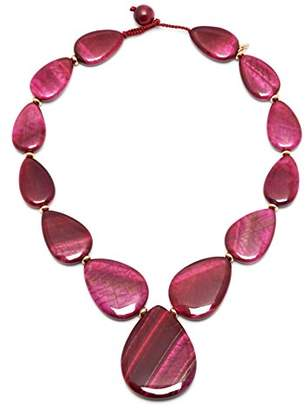 Lola Rose Belva Fuchsia Tigers Eye Necklace of 48cm
