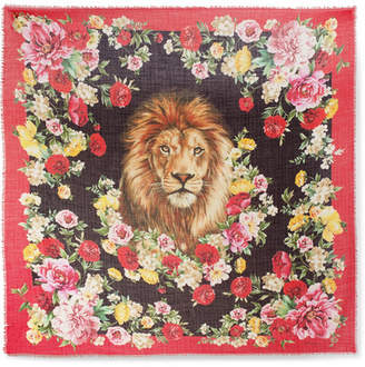 Dolce & Gabbana Frayed Floral-print Cashmere And Silk-blend Scarf