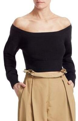 Alexander Wang Cropped Sheer Yoke Pullover