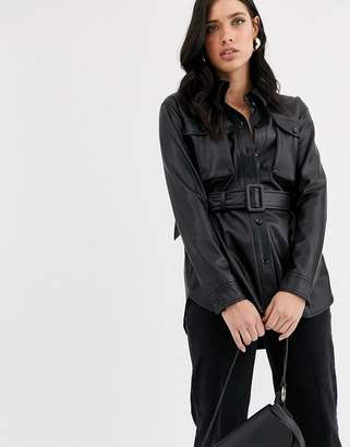 Vero Moda leather look jacket with self belt
