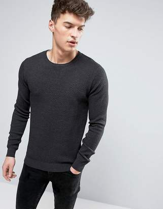 Solid Textured Knit Sweater In Dark Gray