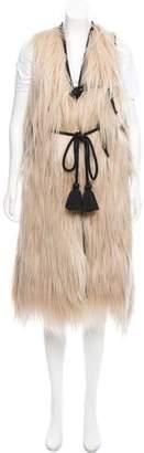 Lanvin Goat Hair Leather-Trimmed Vest w/ Tags