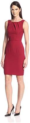 Society New York Women's Pleated Neckline Sheath Dress