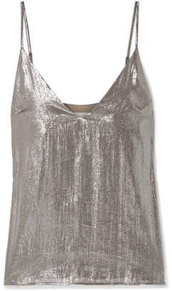 CAMI NYC The Olivia Silk-blend Lamé Camisole - Silver