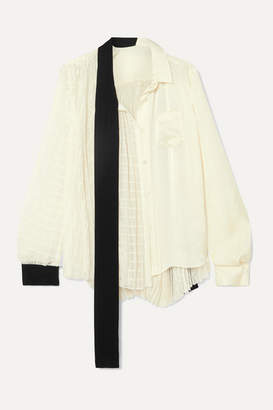 Sacai Asymmetric Velvet-trimmed Paneled Chiffon And Satin Blouse - White