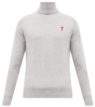 Ami Logo Embroidered Roll Neck Wool Sweater - Mens - Grey