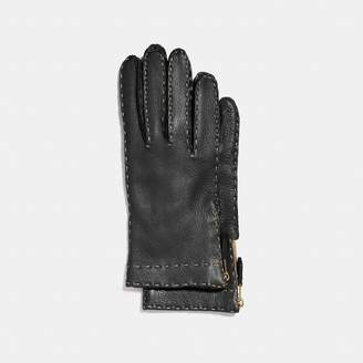 Coach Deerskin Leather Tab Zipper Gloves