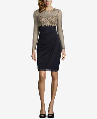 Xscape Evenings Petite Embellished Illusion Sheath Dress
