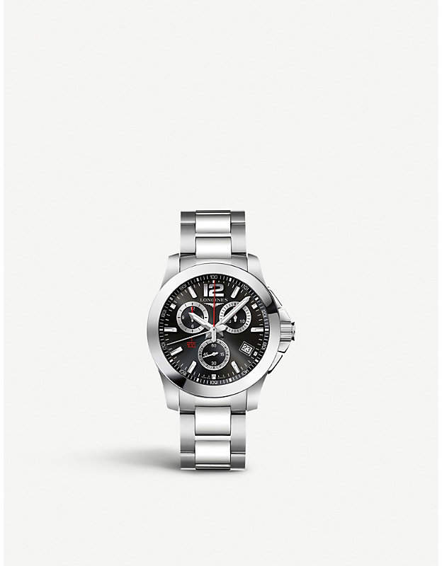 L37004566 Conquest stainless steel chronograph watch