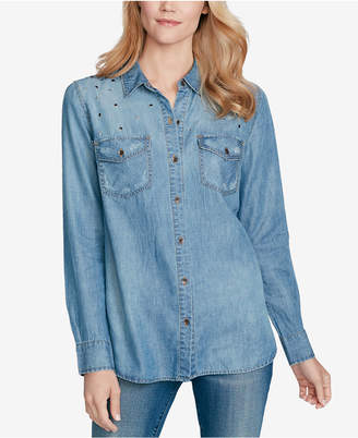 Jessica Simpson Juniors' Petunia Denim Button-Front Shirt