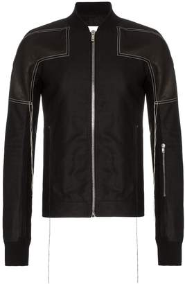 Rick Owens leather embroidered detail bomber jacket