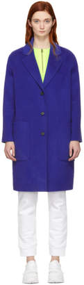 Kenzo Blue Wool and Cashmere Coat