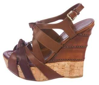 Miu Miu Leather Wedge Sandals