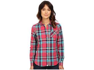 U.S. Polo Assn. Casual Cotton Poplin Plaid Shirt Women's Clothing