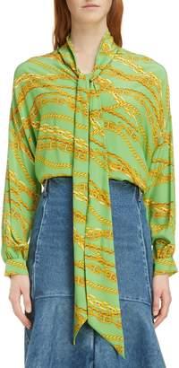d874d636188832 Balenciaga Chain Print Tie Neck Silk Shirt