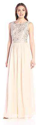 Adrianna Papell Women's Sleeveless Beaded Bodice Gown