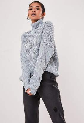 Missguided Gray Turtle Neck Cable Knit Sleeve Sweater