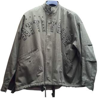 Green Cotton Essentiel Antwerp Leather Jacket for Women