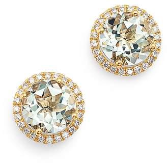 Kiki McDonough 18K Yellow Gold Grace Round Green Amethyst & Diamond Earrings