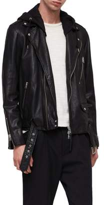 AllSaints Renzo Slim Fit Leather Biker Jacket
