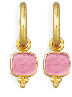 Elizabeth Locke Pink Pegasus, Goddess & Moon Intaglio Earring Pendants