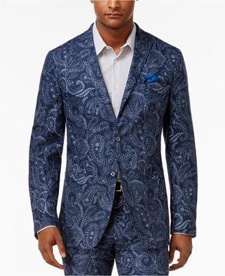 Tallia Men's Slim-Fit Indigo Blue Paisley Sport Coat $350 thestylecure.com