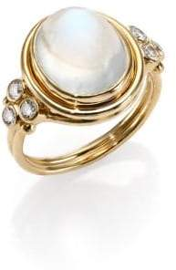 Temple St. Clair Royal Blue Moonstone, Diamond& 18K Yellow Gold Oval Ring
