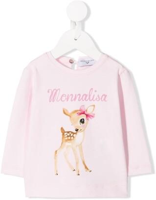 MonnaLisa logo deer print top