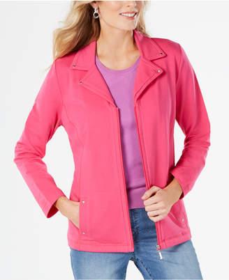 Karen Scott Notched-Lapel Zip-Front Jacket, Created for Macy's