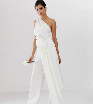 Asos Tall EDITION Tall one shoulder drape side wedding jumpsuit