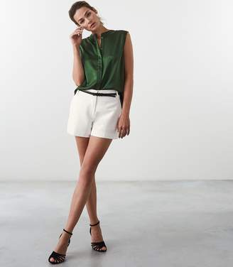Reiss Our last order date for Christmas has now passed LILA SILK SLEEVELESS BLOUSE Bottle Green