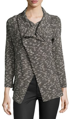Bobeau Shawl-Collar Textured Herringbone Jacket, Black $49 thestylecure.com