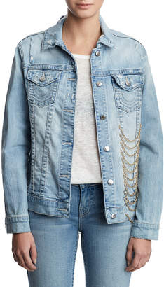 True Religion WOMENS CHAIN EMBELLISHED DENIM JACKET