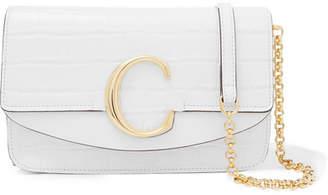Chloé C Mini Leather-trimmed Croc-effect Shoulder Bag - White