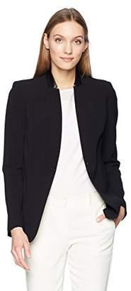T Tahari Women's Bria One Button Faux Leather Collar Crepe Blazer