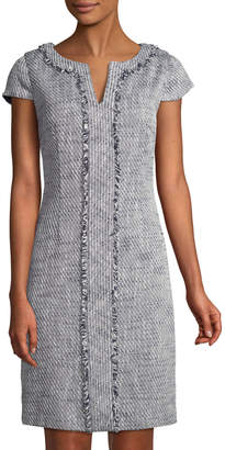 Karl Lagerfeld Paris Fringe-Trim Short-Sleeve Tweed Dress