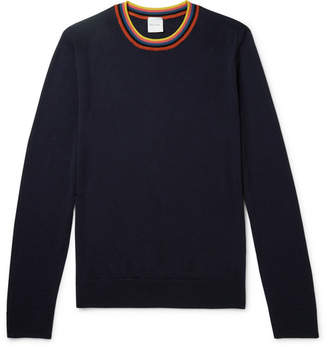 Paul Smith Slim-fit Striped Merino Wool Sweater - Navy