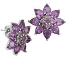 Lord & Taylor Amethyst Flower Stud Earrings