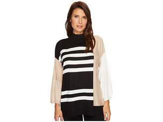 Vince Camuto Drop Shoulder Color Blocked Turtleneck Sweater Women's Sweater