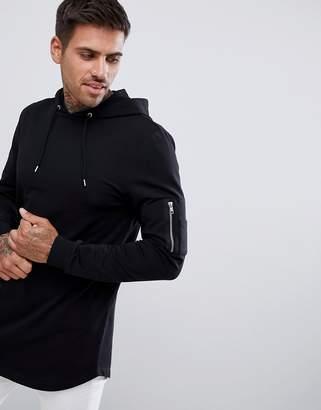 Asos DESIGN longline muscle fit hoodie with MA1 pocket and curved hem