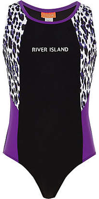 River Island Girls black RI leopard print swimsuit