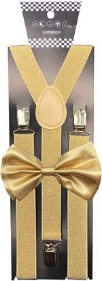 Christian Dior Consumable Depot Gold Suspender with Matching Metalic, Champagne, Sequined Bowtie Set