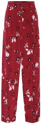 Valentino Printed silk-crepe trousers
