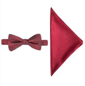 Jf J.Ferrar JF Textured Striped Bow Tie and Pocket Square Set