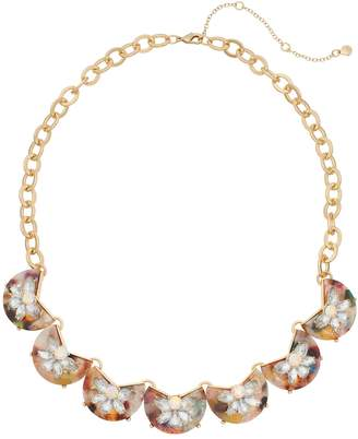 Gold Tone Multi Colored Acetate Simulated Crystal Statement Necklace